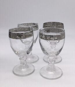 Vintage Silver Rimmed Wine Glasses Greek Key Design Set of 4