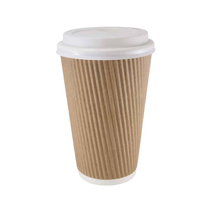 1000 x 16oz braun Paper Coffee Cups Kraft Ripple 3 Ply + Weiß Lids