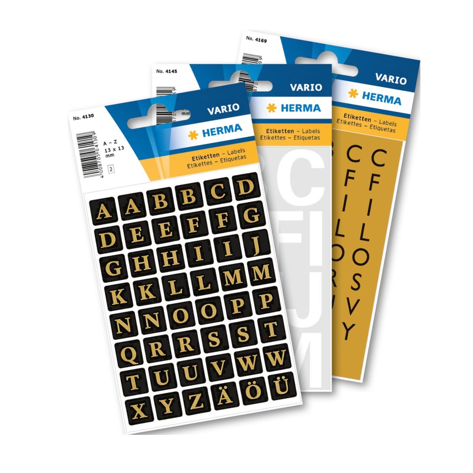10 x Herma 4167 Buchstaben 25 mm A-Z wetterfest Folie schwarz