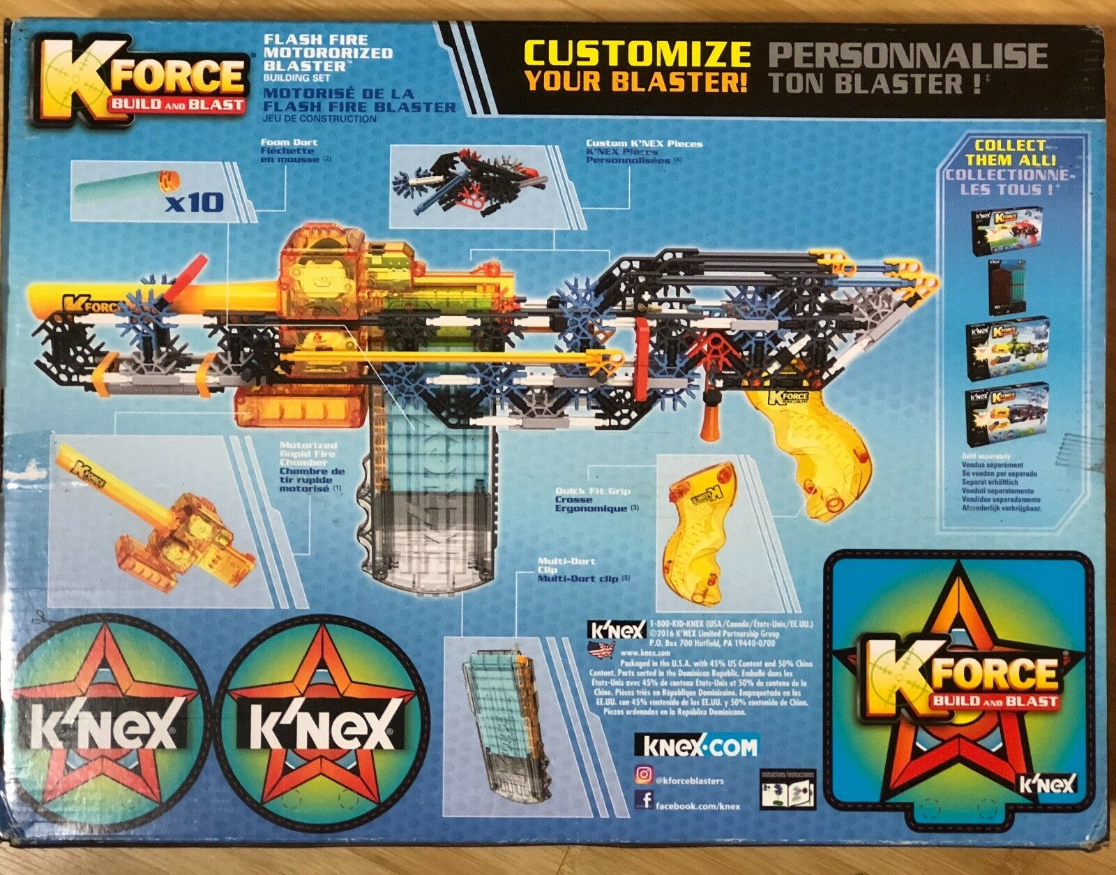 K'NEX K-Force  Flash Fire Motorized Blaster Building Set  288 Pieces  For Age 8+