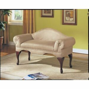 Acme 05630 Aston Microfiber Rolled Arm With Back Bench Beige Finish