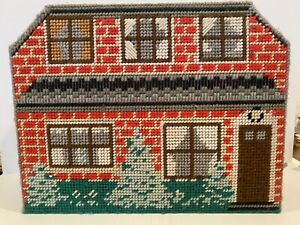 Vintage-Plastic-Canvas-Dollhouse-And-Furniture-Needlepoint-12-Piece-Set