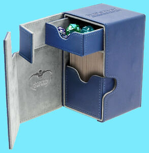 ULTIMATE-GUARD-FLIP-n-TRAY-BLUE-80-XENOSKIN-DECK-CASE-Card-Box-MTG-CCG-Game