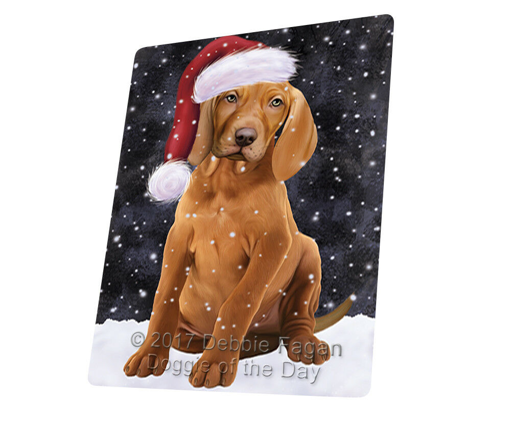 Let it Snow Christmas Holiday Vizsla Dog Woven Throw Sherpa Blanket T136