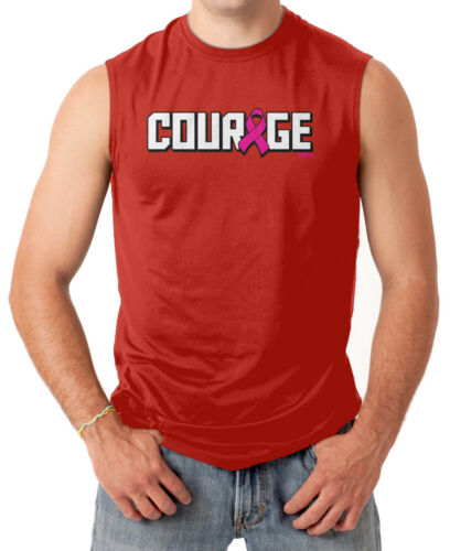 Courage Breast Cancer Awareness Men/'s SLEEVELESS T-shirt