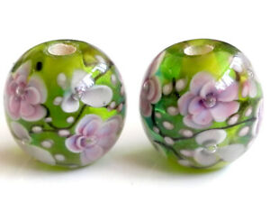 10pcs-handmade-Lampwork-glass-beads-glass-green-plum-flower-round-14mm