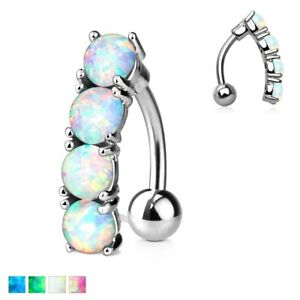 Details About Opal Stone Drop Reverse Top Down Belly Button Navel Rings Studs Piercing Jewelry