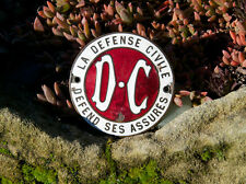 VINTAGE ENAMEL CAR BADGE # CIVIL DEFENSE INSURANCE DC LA DEFENSE CIVILE FRANCE