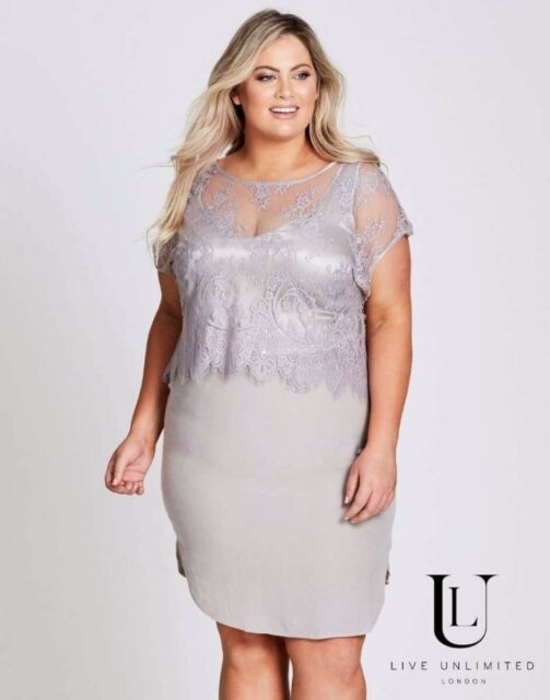 Autograph Live Unlimited Lace Overlay Dress Sz 24 Bnwt Rrp $199.99 Free Post E89
