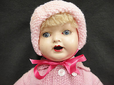 """Antique Paramount Doll Composition Head Soft Cloth Body Pink Knitted Coat 20"""""""