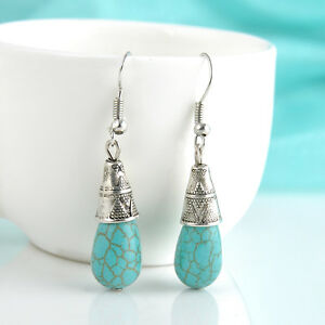 fashion-Jewelry-Women-Blue-Turquoise-amp-Sterling-Silver-Drop-Dangle-Earrings-E7