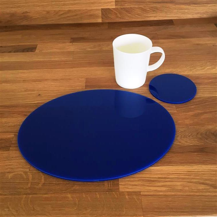Oval Shaped Blau Gloss Acrylic Placemats & Coasters. Größe 11.5x9  or 16x12