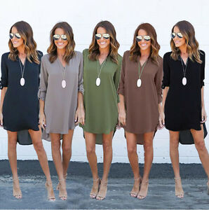 Women-Summer-Long-Sleeve-Chiffon-Solid-Top-Loose-Dress-Clothes-T-shirt-Plus-Size
