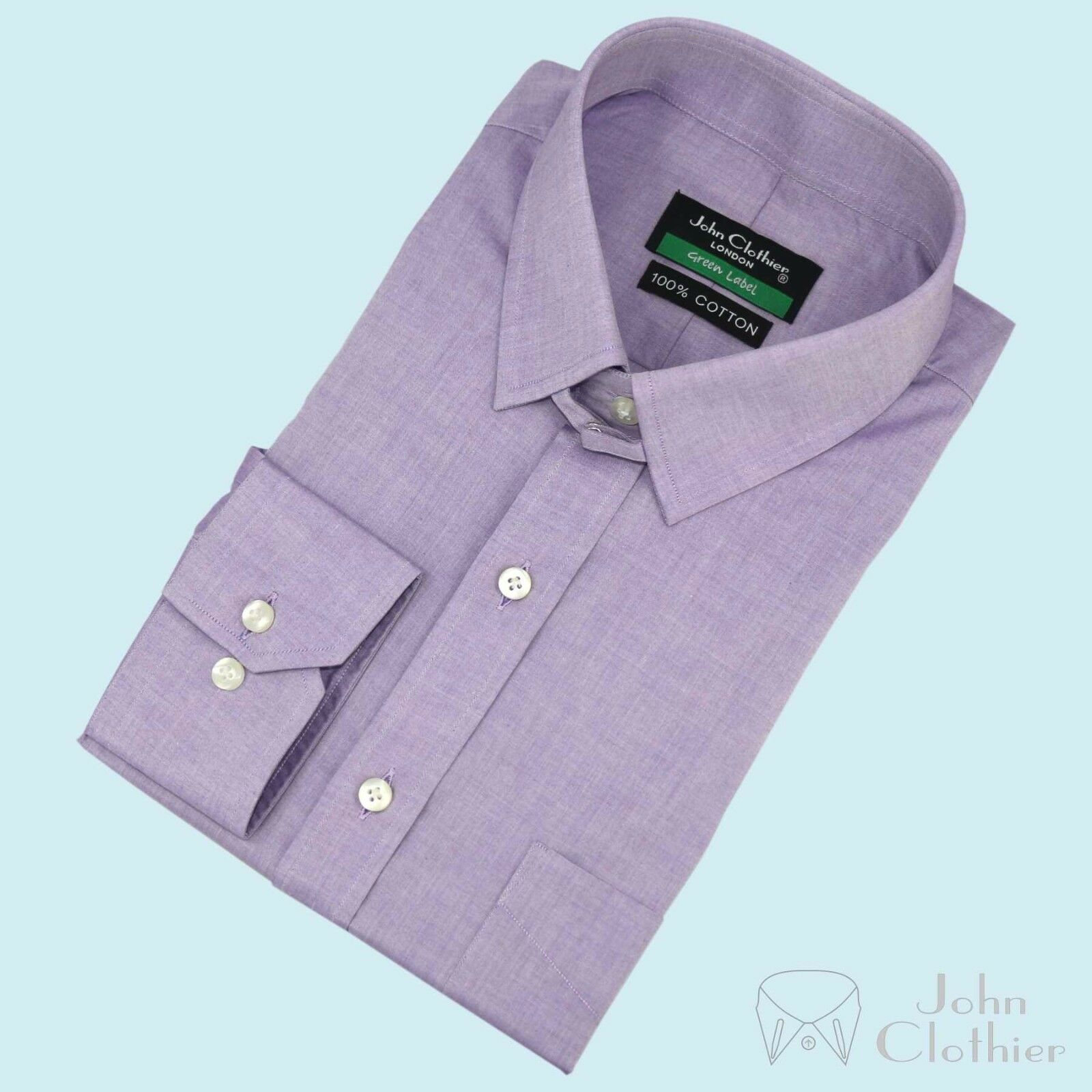 New  Herren Lilac lila Milange shirt James Bond Tab collar Loop for Gents Formal