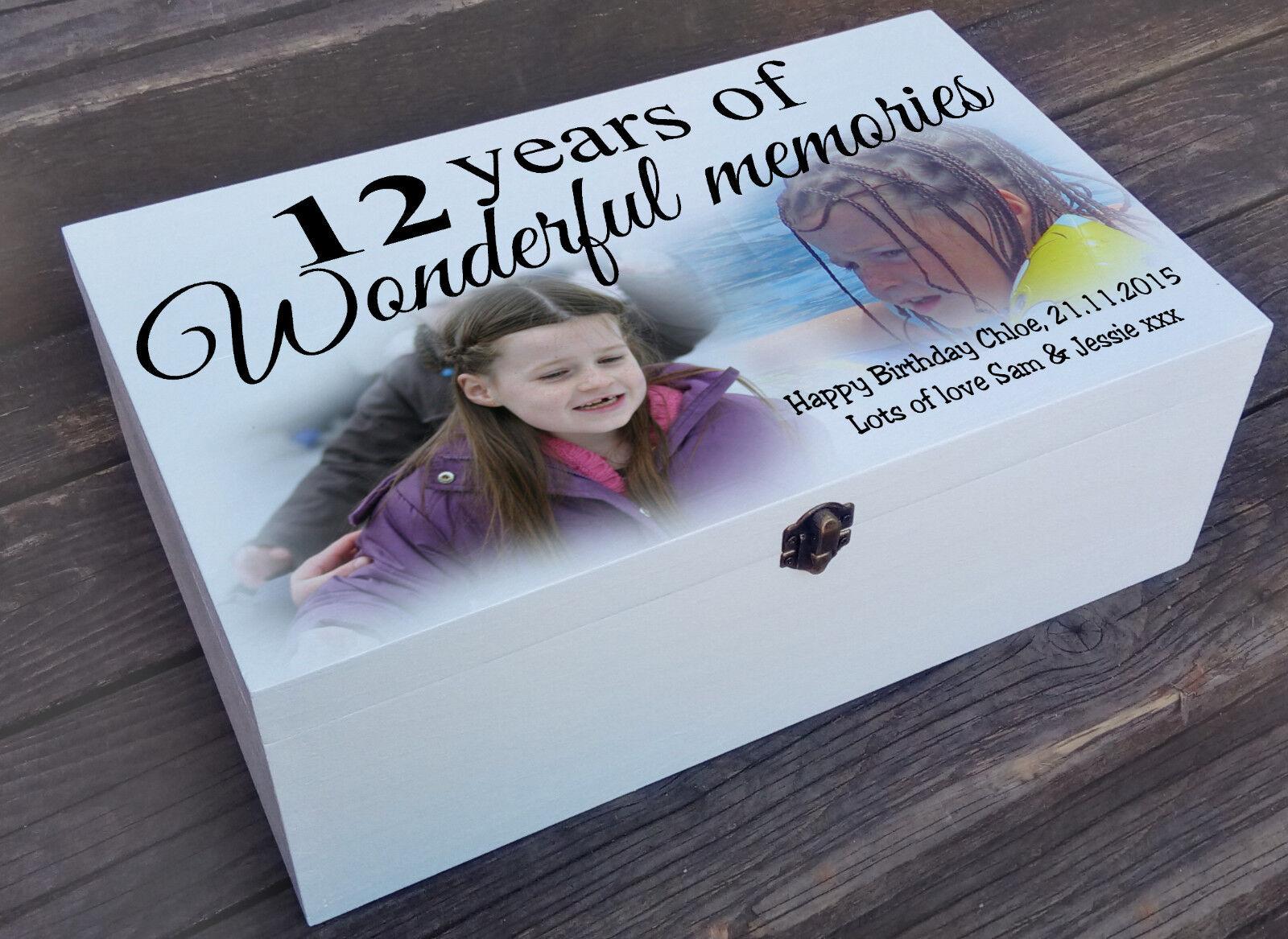 Scatola IN LEGNO BIANCO personalizzata, portagioie bomboniera, regalo di compleanno 12th Memoria
