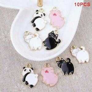 10x-Cute-Enamel-Alloy-Pig-Cat-Panda-Charms-DIY-Pendants-Necklace-Jewelry-Finding
