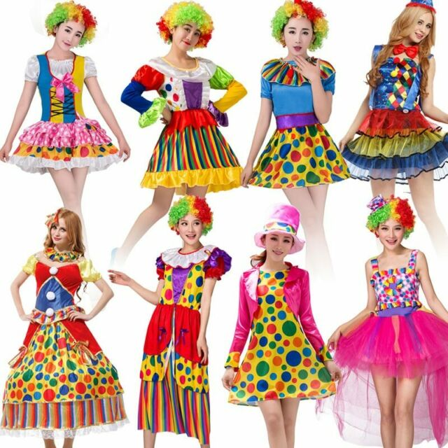 Adult Women Mime Costume Circus Clown Cosplay Fancy Dress Up Halloween Costumes
