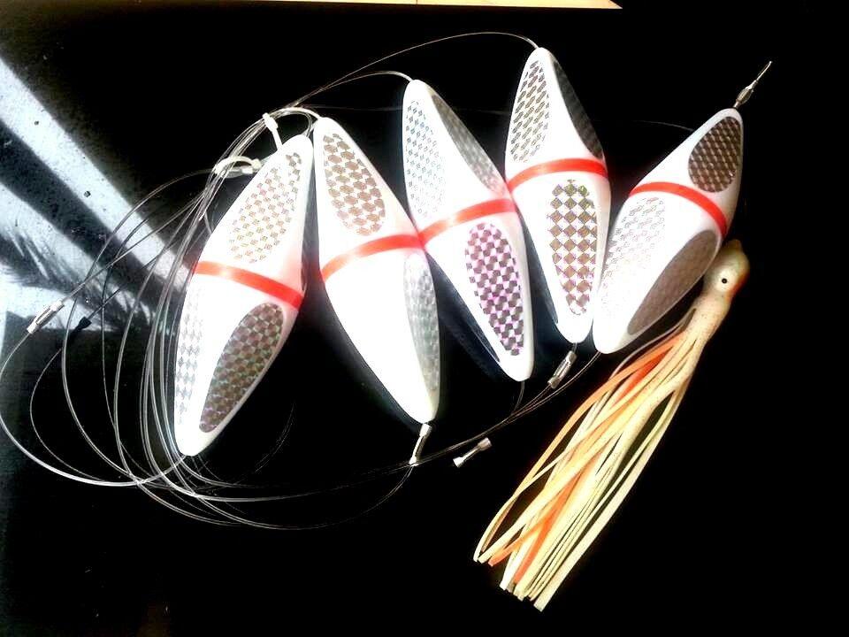 Teaser floats 5 piece squid bird teasers game fishing tuna kingfish lures tuna