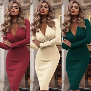 AU-Women-Long-Sleeve-Ruched-V-Neck-Bodycon-Club-Cocktail-Party-Pencil-Midi-Dress