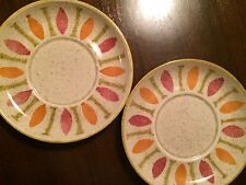 Vintage Red Wing Saucers Pepe Pattern Set/2 1960s Dinnerware Pottery Plate - EUC