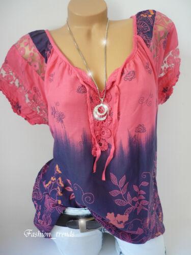Italy Vintage Blumen Bluse Häkel Spitze Shirt Top Tunika*Coral Pink* 38 40 42