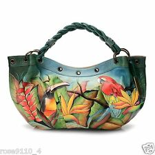 Anuschka Leather Ruched Hobo/Shoulder Bag Braided Handle Tropical Bliss Lg NWT