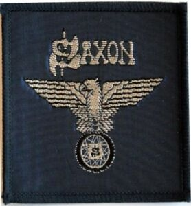 SAXON-039-Wheels-of-Steel-039-navy-blue-sew-on-woven-vintage-patch