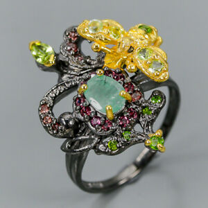 Vintage-SET-Natural-Emerald-925-Sterling-Silver-Ring-Size-9-R98074