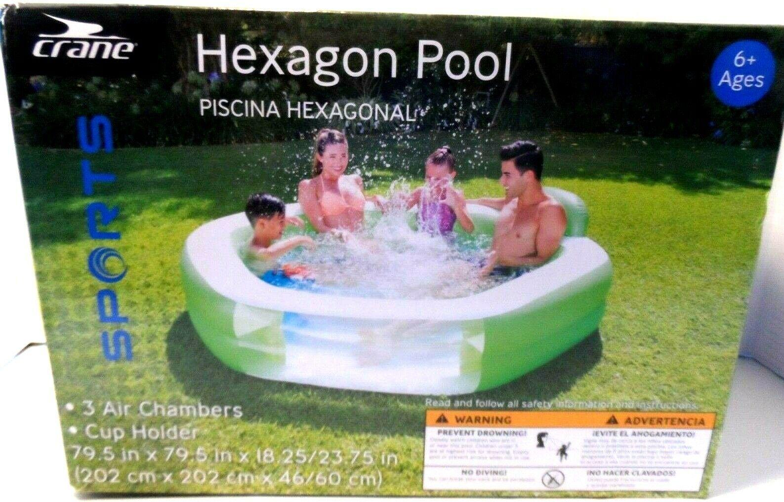 Inflatable Crane Sports Hexagon Pool 79.5 in.x79.5 ln.x18.25 in. Summer Fun NEW