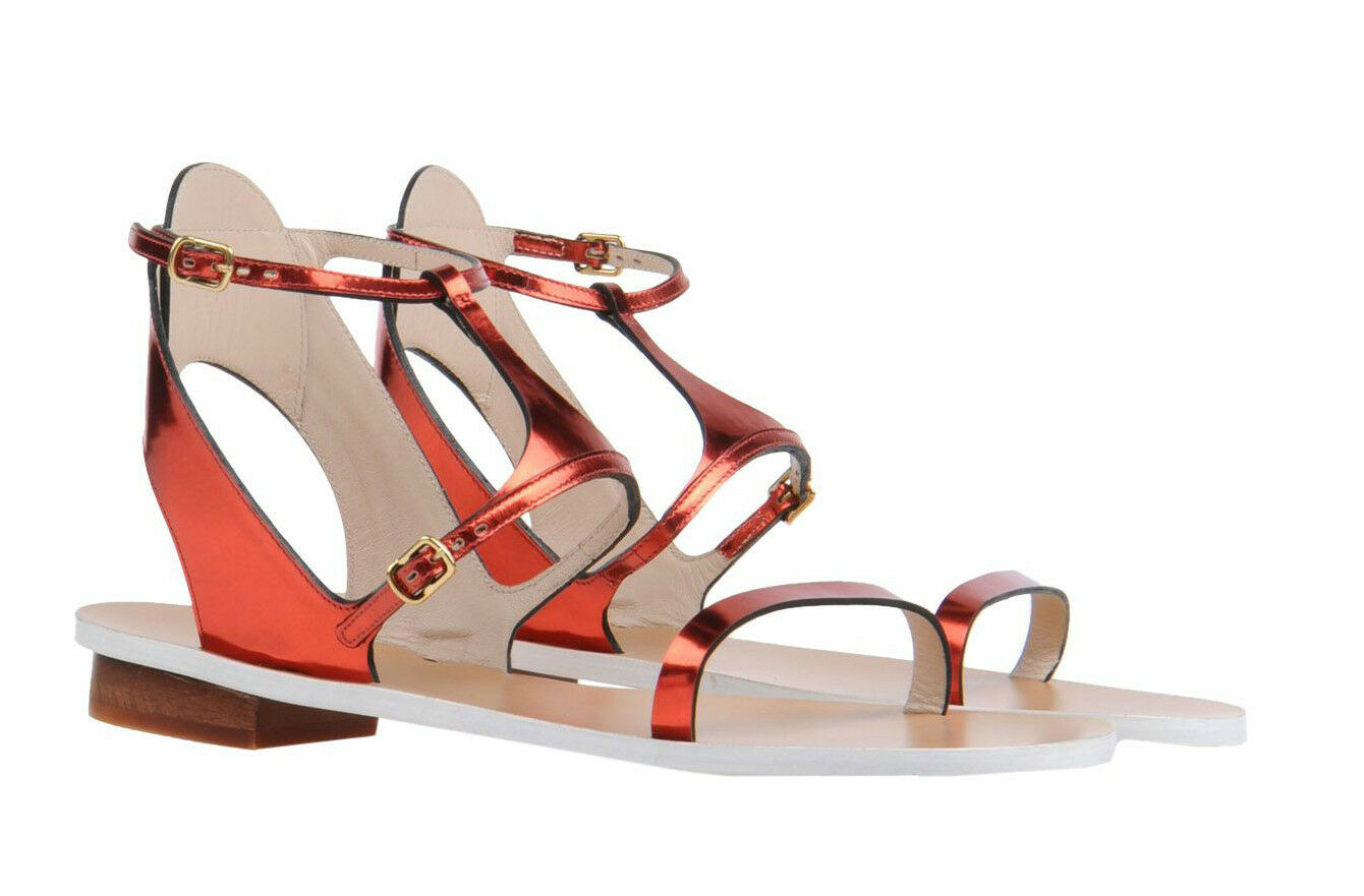 Chloé Metallic Mirrored Pelle Sandals in Ruby Red Size 37