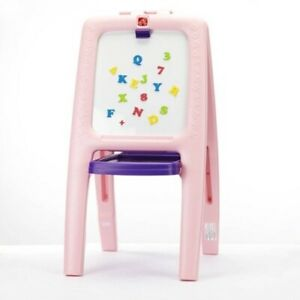 Details About Step2 Easel For Two Pink With 77 Piece Art Kit Girls Draw Learn Kids Child New