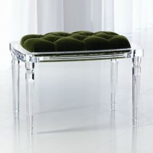 Outstanding Details About Elegant Clear Acrylic 4 Leg Bench Dark Green Tufted Mohair Velvet Seat Plush Machost Co Dining Chair Design Ideas Machostcouk
