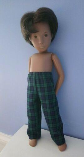 BJB vintage Sasha Gregor Poupées Vêtements Bleu Marine Vert Tartan Écossais Pantalon