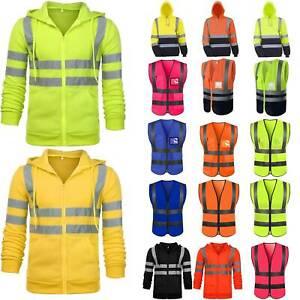 Mens-Hi-Viz-Vis-Visibility-Work-Hoodie-Sweatshirt-Reflective-Zipper-Coat-Jacket