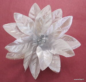 Image Is Loading 4 034 Silver Poinsettia Flower Poly Silk Brooch