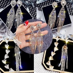 Luxury-Women-Lady-Crystal-Tassel-Love-Heart-Drop-Dangle-Earring-Jewelry-Wedding