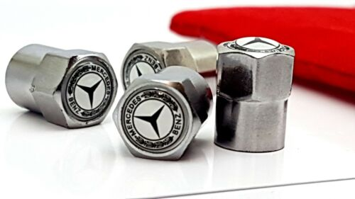 Buy 2 Get 1 FREE 4x Mercedes White Car logo Tyre Valve Caps with Gift Pouch