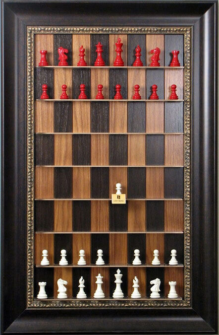 Straight Up Chess Board - Dark Walnut Chess Board with 3 1 2  Dark Bronze Frame