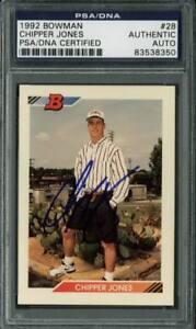 Braves-Chipper-Jones-Authentic-Signed-Card-1992-Bowman-Rc-28-PSA-DNA-Slabbed