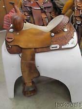 "Hand Made Talmadge Green Barrel Saddle 15 1/2"" Flex Tree Used"