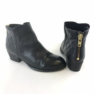 Office-Size-37-UK4-Ladies-Black-Leather-Ankle-Zip-Up-Block-Heels-Booties-Boots