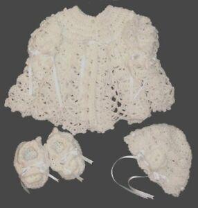 Belle Main-crocheted Baby Set ** Veste + Chapeau + Chaussons * Blanc ** 0-3 Mois-afficher Le Titre D'origine Doux Et LéGer