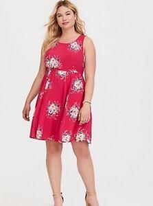 cbfe37dd4d28 NWT Torrid Size 4 Red Pink Floral Tie-Back Challis Mini Plus Size ...