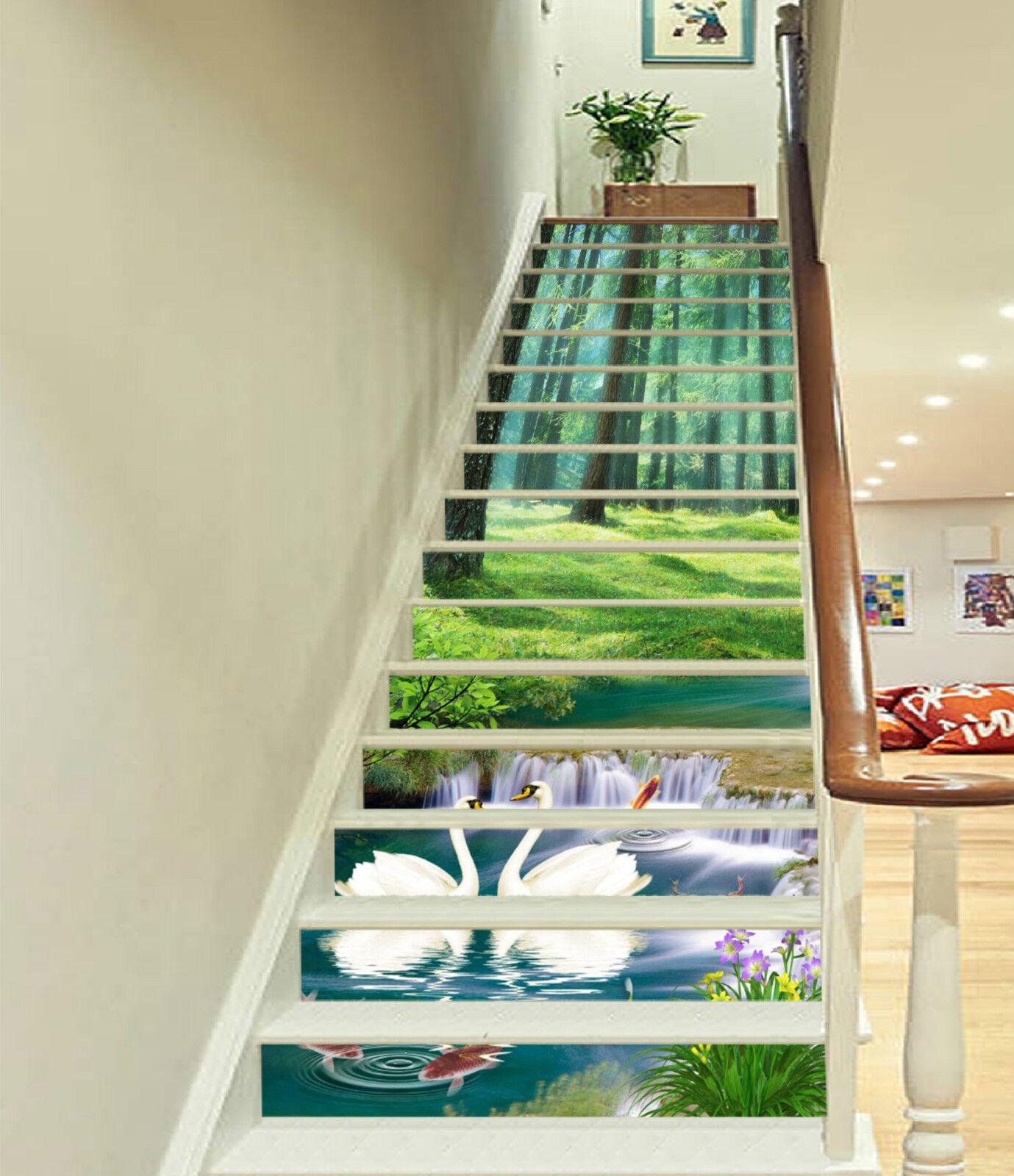 3D Schwan Wald 22 Stair Risers Dekoration Fototapete Vinyl Aufkleber Tapete DE