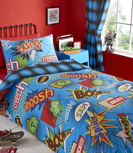 KAPOW BEDDING OR CURTAINS COMIC BANG BUBBLE ZAP POLKA DOT SPOT BLUE BLACK RED