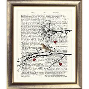 ART-PRINT-ON-ORIGINAL-ANTIQUE-DICTIONARY-BOOK-PAGE-Bird-Hearts-Vintage-Tree