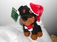 Wal-mart Walmart 8 Plush Puppy Dog Tan Brown Lovey Black Santa Christmas