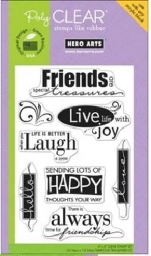 HERO ARTS Clear Stamps LIVE LIFE # CL493 FRIENDS TREASURES LAUGH JOY HELLO