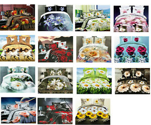 Copripiumino 200x220.Set Letto Matrimoniale Lenzuola 3d Flower Col Copripiumino 200x220