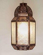 Lampadario LANTERNA Marocchina Stile Soffitto CIONDOLO colore bronzo vetro trasparente